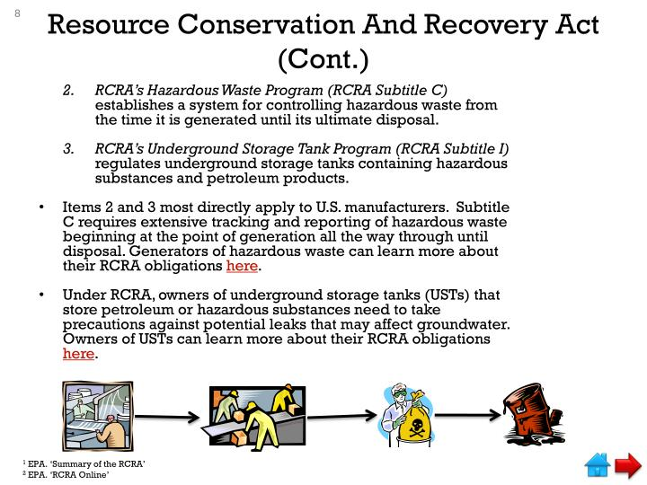 Resource Conservation And Recovery Act (Cont.)
