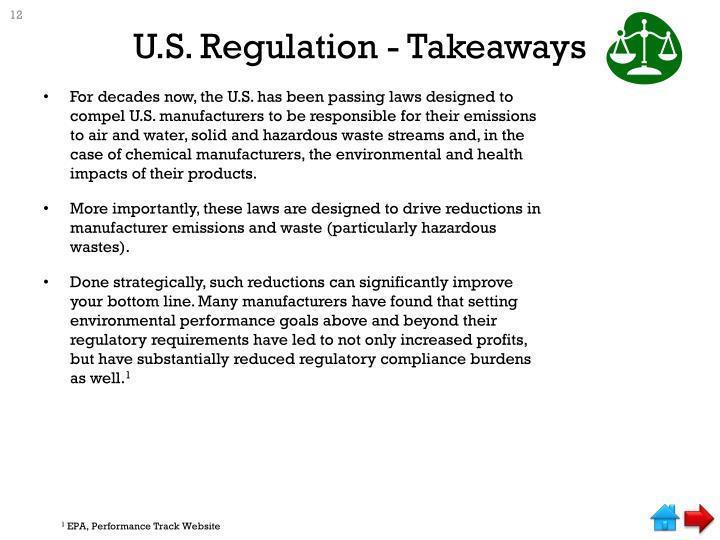 U.S. Regulation - Takeaways