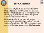 sbac checklist