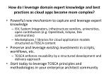 how do i leverage domain expert knowledge and best practices as cloud apps become more complex