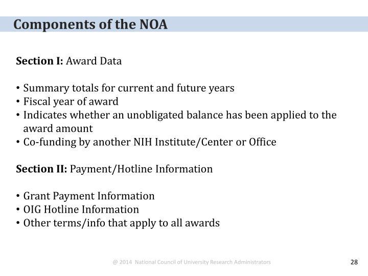 Components of the NOA