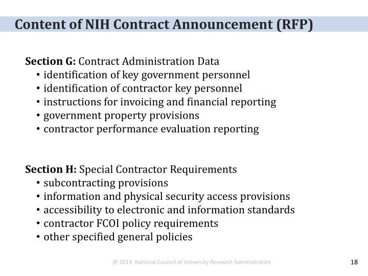 Content of NIH Contract Announcement (RFP)