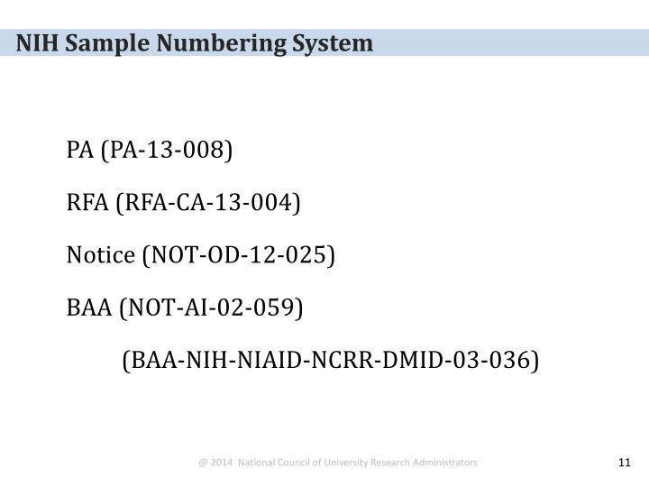 NIH Sample Numbering System
