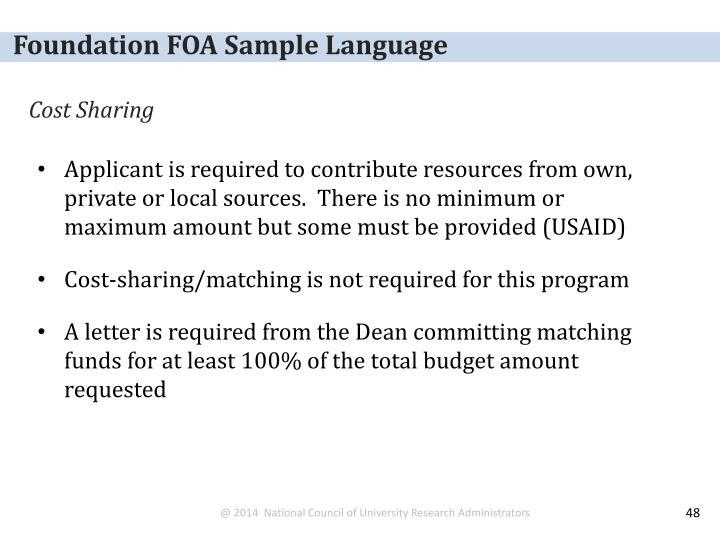 Foundation FOA Sample Language
