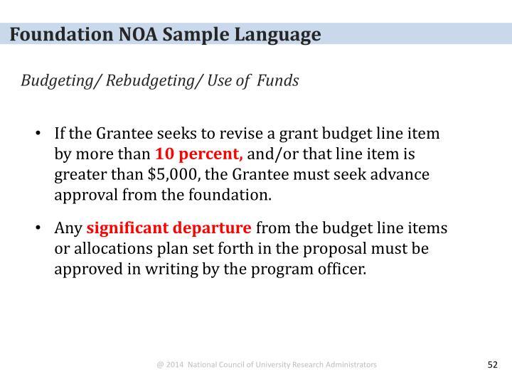 Foundation NOA Sample Language