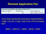 renewal application fee