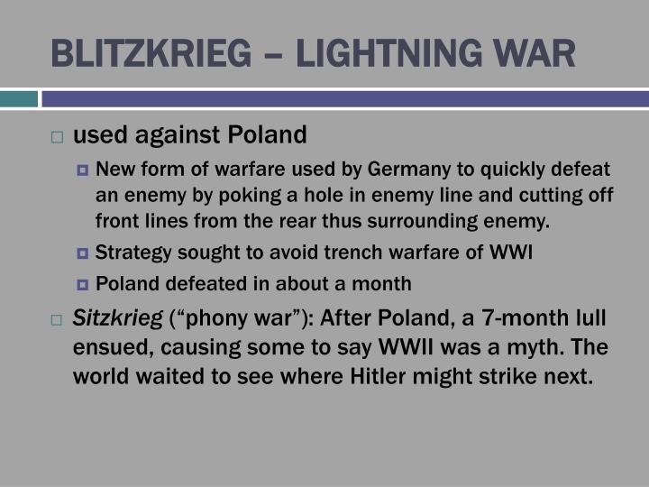 BLITZKRIEG – LIGHTNING WAR