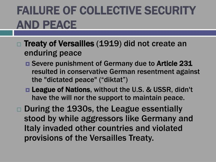 Failure of collective security and peace