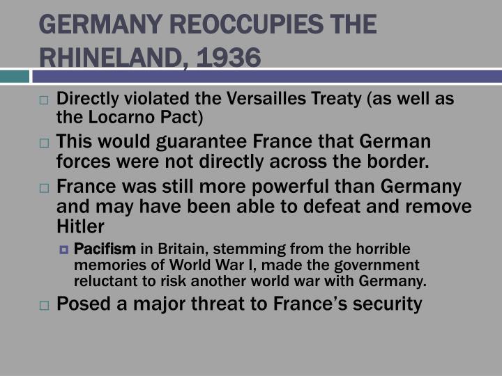 GERMANY REOCCUPIES THE RHINELAND, 1936