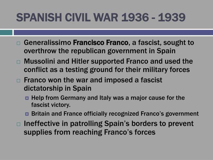 SPANISH CIVIL WAR 1936 - 1939