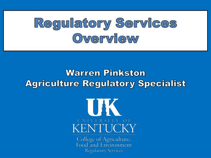 regulatory services overview n.