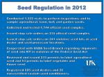 seed regulation in 2012