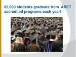 85 000 students graduate from abet accredited programs each year