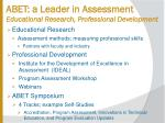 abet a leader in assessment educational research professional development