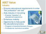 abet value industry