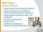 abet value students parents