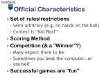 official characteristics