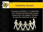 continuity occurs