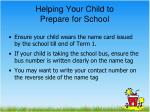 helping your child to prepare for school