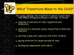 what transitions mean to the child