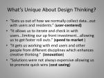 what s unique about design thinking