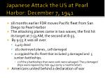 japanese attack the us at pearl harbor december 7 1941