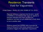 residence transients void for vagueness