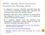 swot identify draw conclusions translate into strategic action