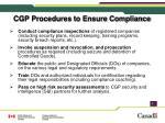 cgp procedures to ensure compliance