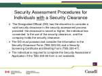 security assessment procedures for individuals with a security clearance