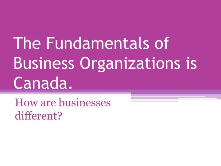 the fundamentals of business organizations is canada n.