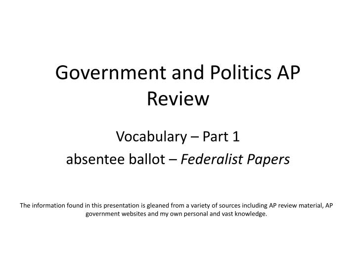 government and politics ap review n.