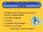 academic honors diploma criteria