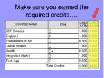 make sure you earned the required credits