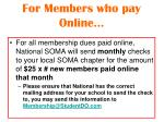 for members who pay online
