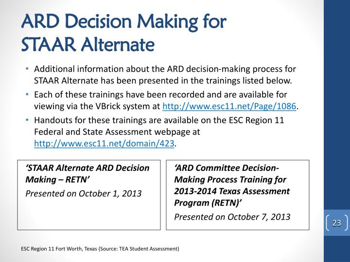 ARD Decision Making for