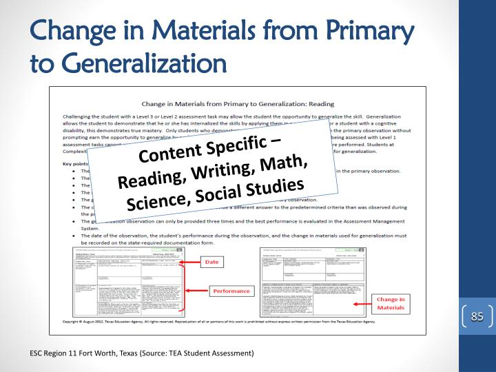 Change in Materials from Primary to Generalization