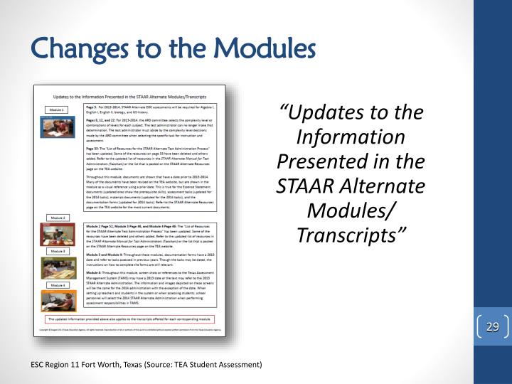 Changes to the Modules