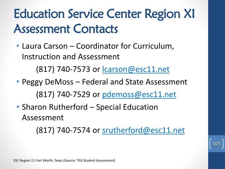 Education Service Center Region XI Assessment Contacts