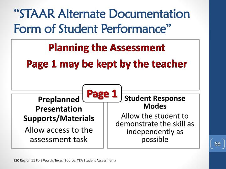 """STAAR Alternate Documentation Form of Student Performance"""