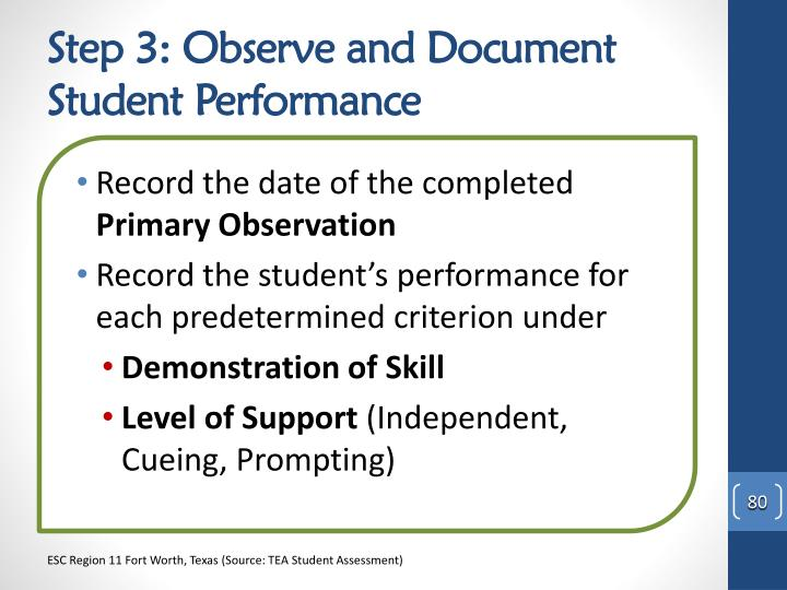 Step 3: Observe and Document Student Performance