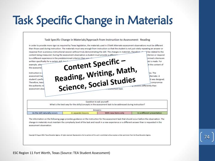 Task Specific Change in Materials
