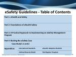 esafety guidelines table of contents
