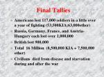 final tallies