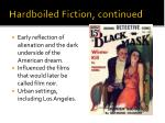 hardboiled fiction continued