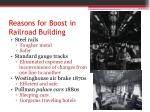 reasons for boost in railroad building