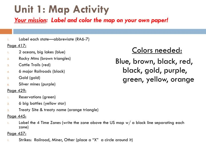 unit 1 map activity your mission label and color the map on your own paper n.