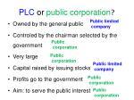 plc or public corporation
