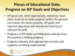 pieces of educational data progress on iep goals and objectives