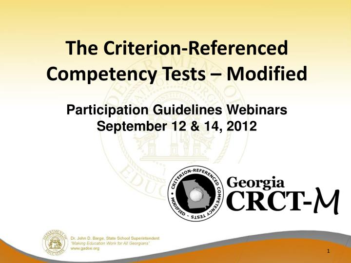 the criterion referenced competency tests modified n.